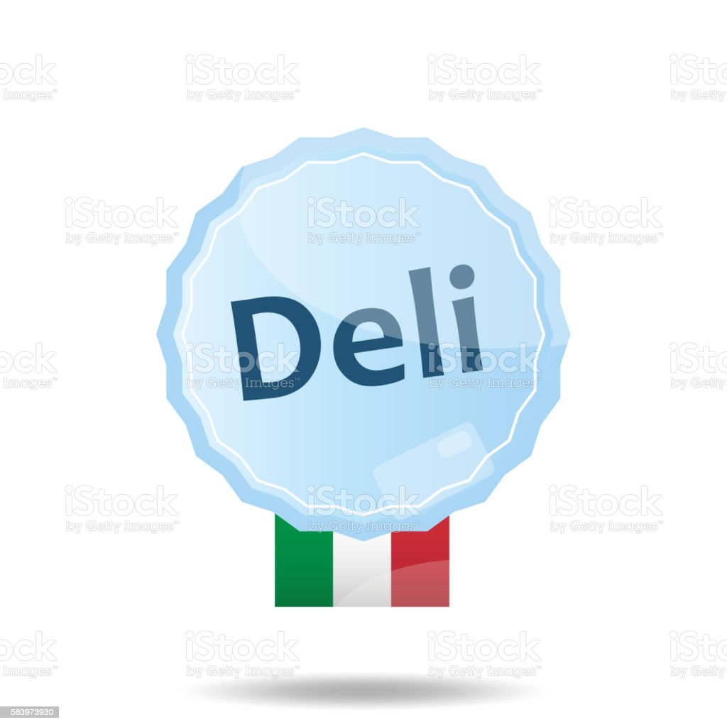 Floating Button or Badge with text Deli stock photo