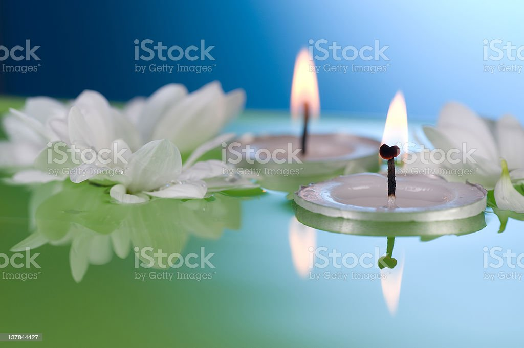 Floating Candles and Flowers stock photo