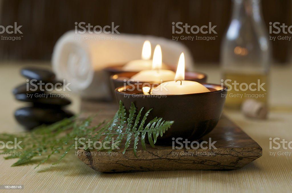 Floating Candles in a Zen Spa royalty-free stock photo