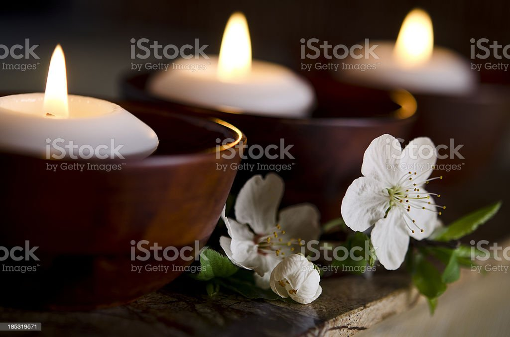 Floating Candles in a Zen Spa stock photo
