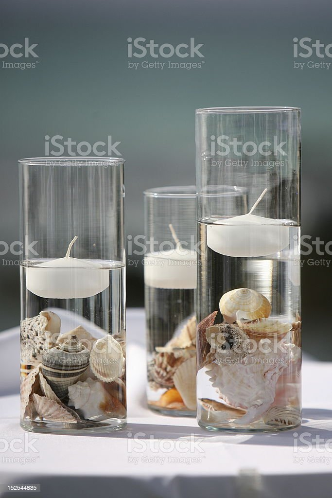 Floating Candles with  Sea Shells stock photo