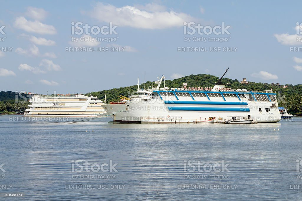 Floating casino ships, Goa, India stock photo