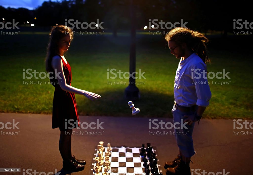 Floating chess pawn stock photo