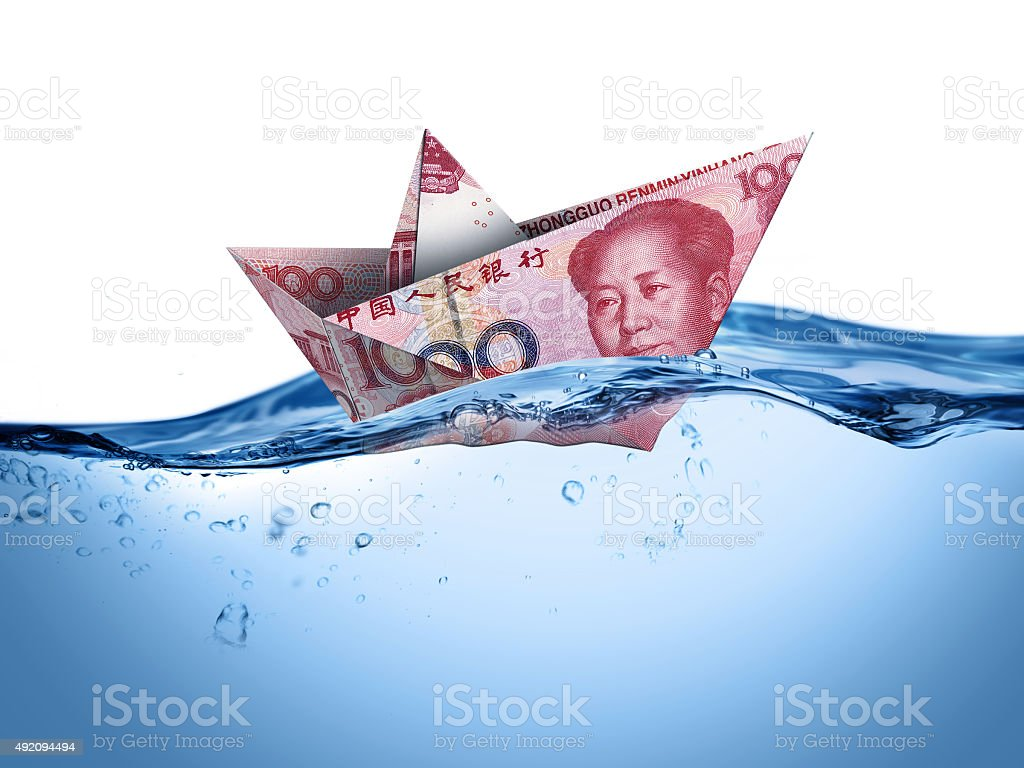 Floating China  currency stock photo