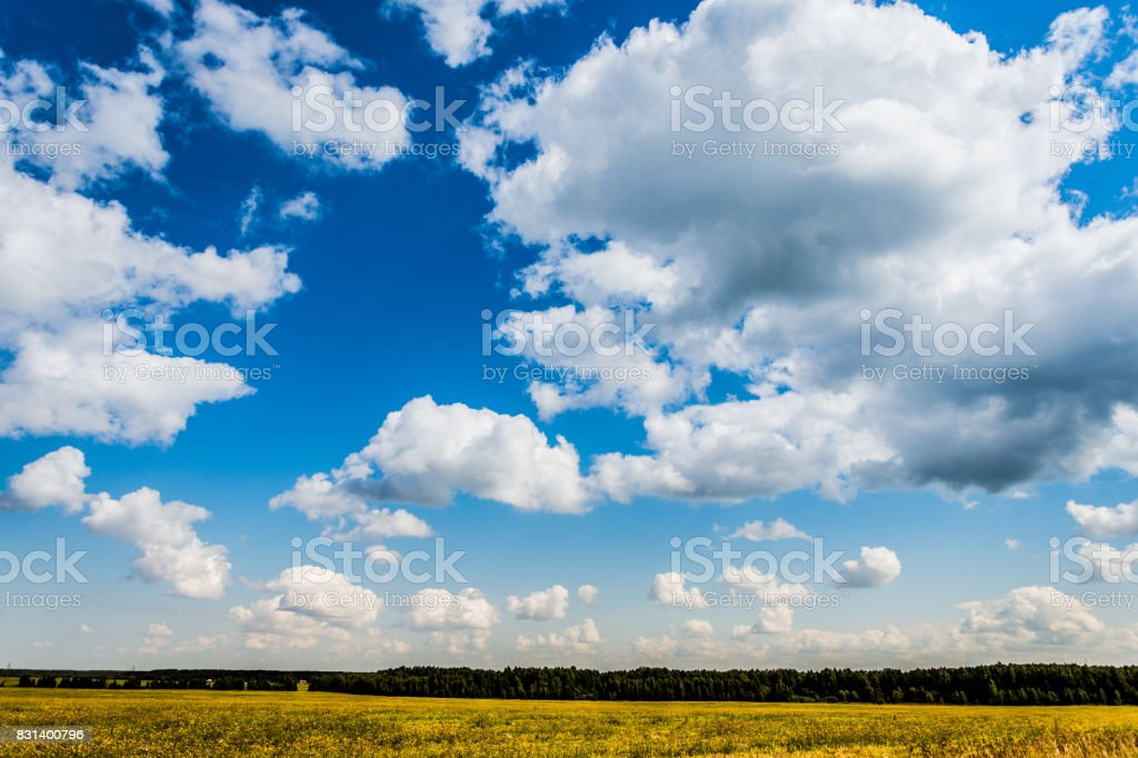 Floating clouds in the blue sky stock photo