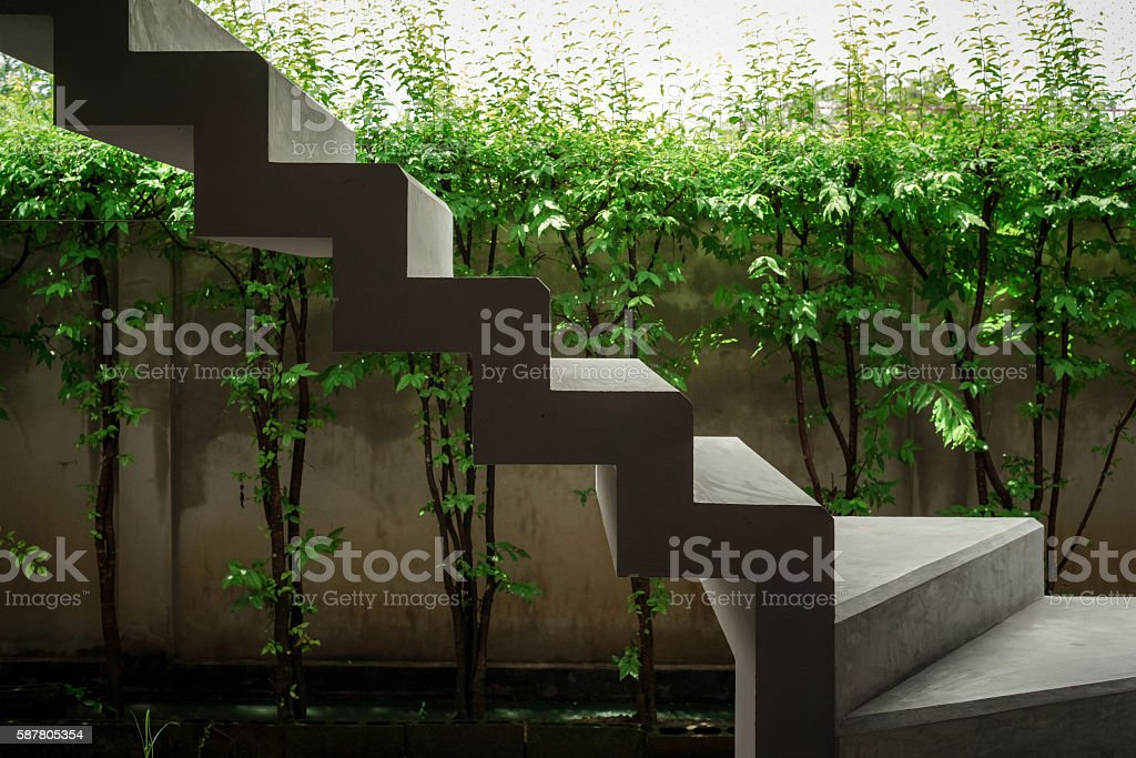 Floating concrete stairways with green plants and wall photo libre de droits
