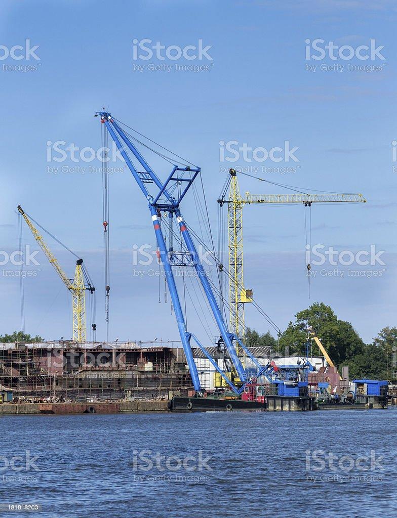 Floating crane working on the Dead Vistula river, Gdansk royalty-free stock photo