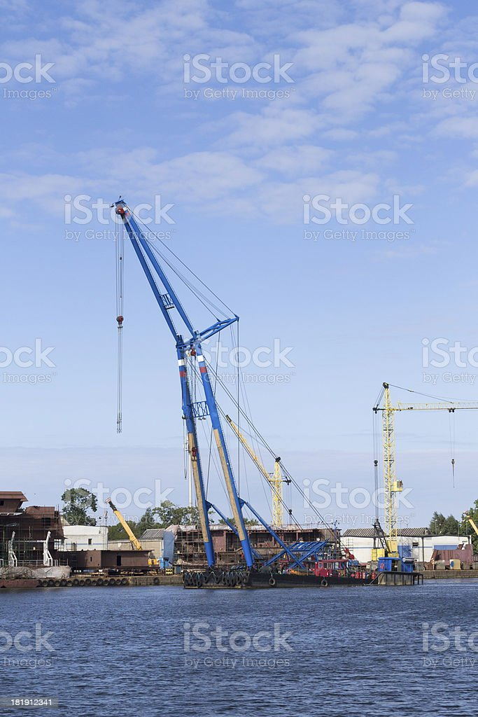 Floating crane working on the Dead Vistula river, Gdansk royalty-free stock photo
