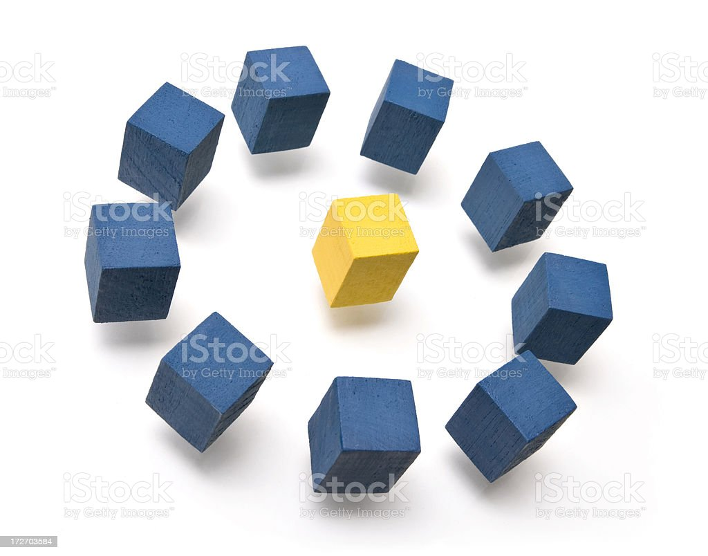 Floating cubes stock photo