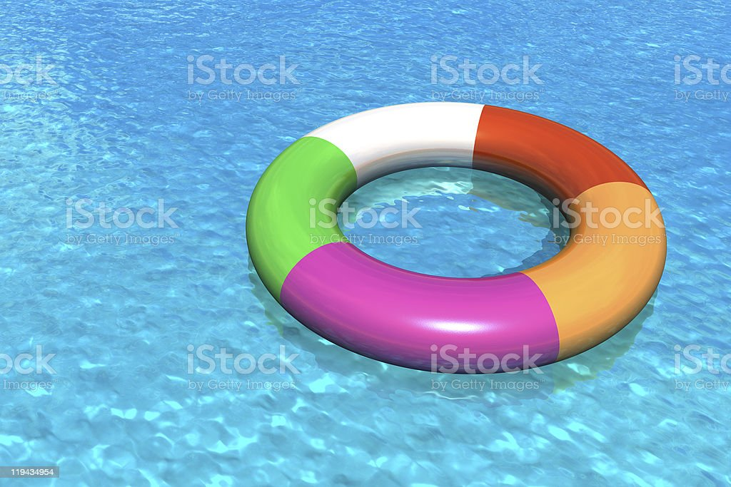 A floating device in a swimming pool stock photo