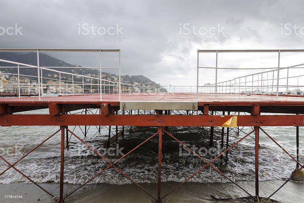 floating dock in Rapallo stock photo