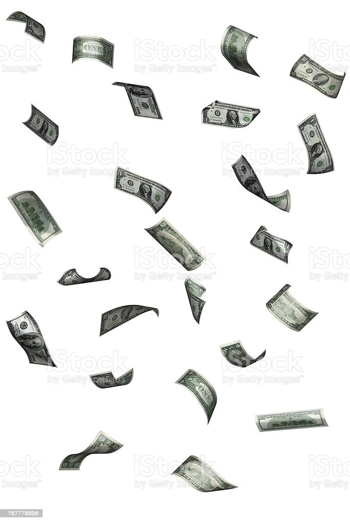 Floating dollar bills stock photo