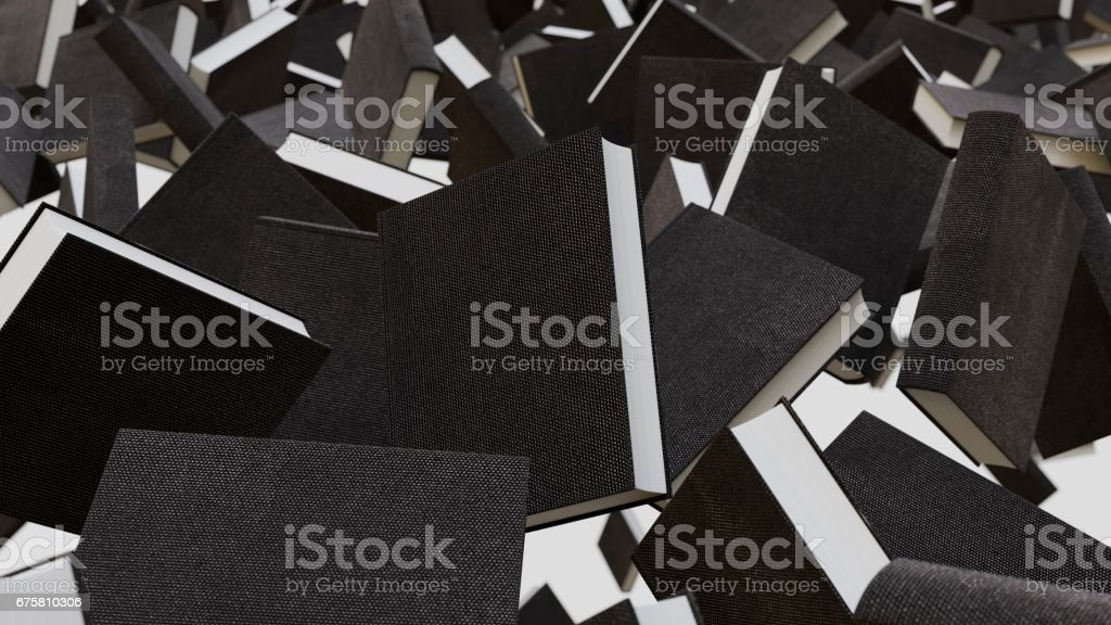 Floating Fabric Surface Thick Hardcover Books Floating in a Swarm stock photo