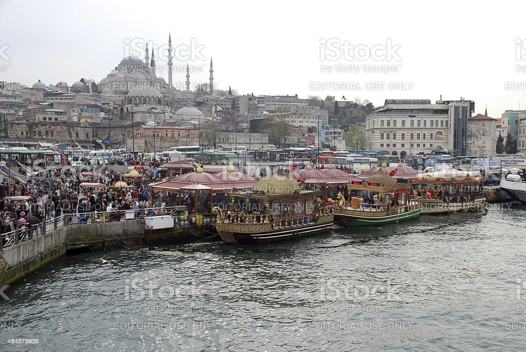 Floating Fish Restaurants at Golden Horn Bay in Istanbul royalty-free stock photo