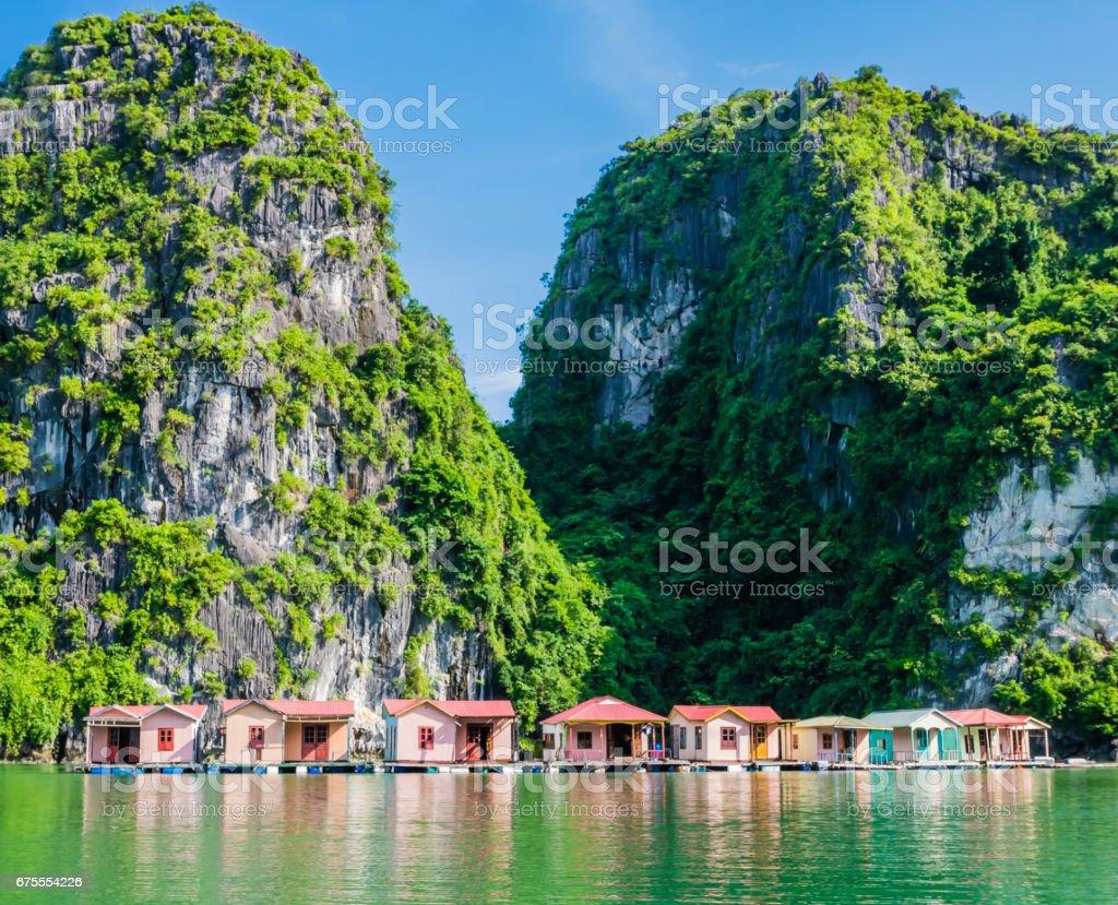 Floating fishing village, Ha Long bay, Vietnam stock photo