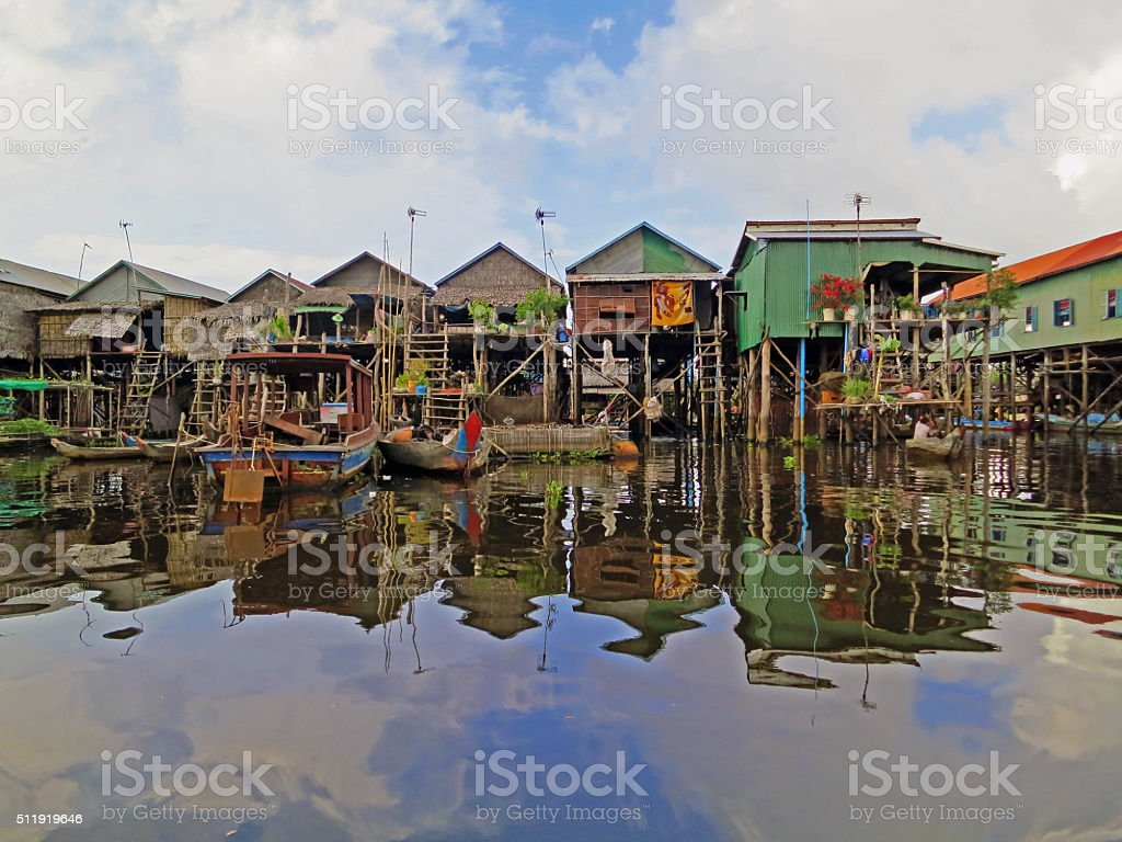 Floating fishing village in Cambodia stock photo