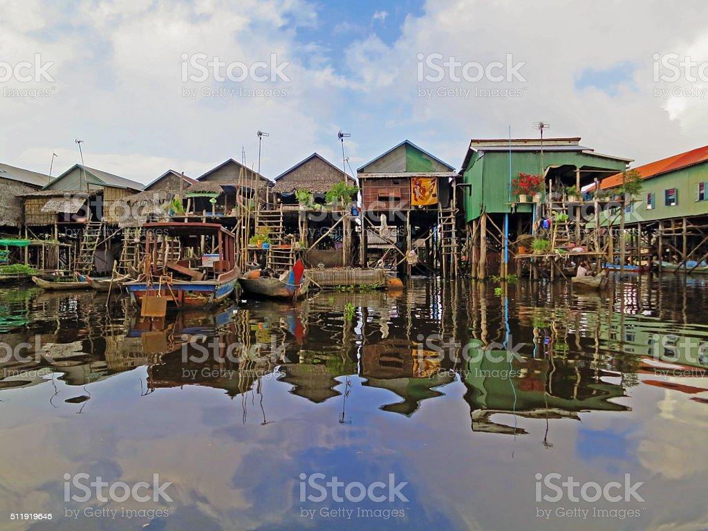 Floating fishing village in Cambodia stock photo