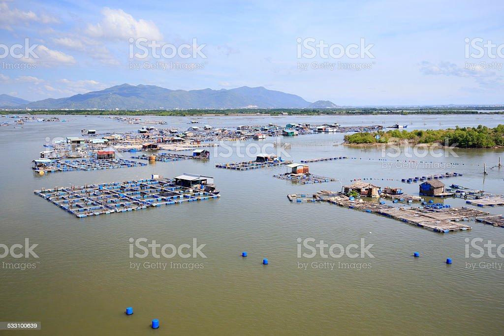 Floating fishing village, Long Hai, Vietnam. royalty-free stock photo