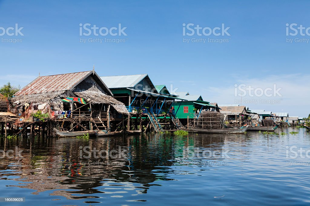 Floating fishing village on the water stock photo