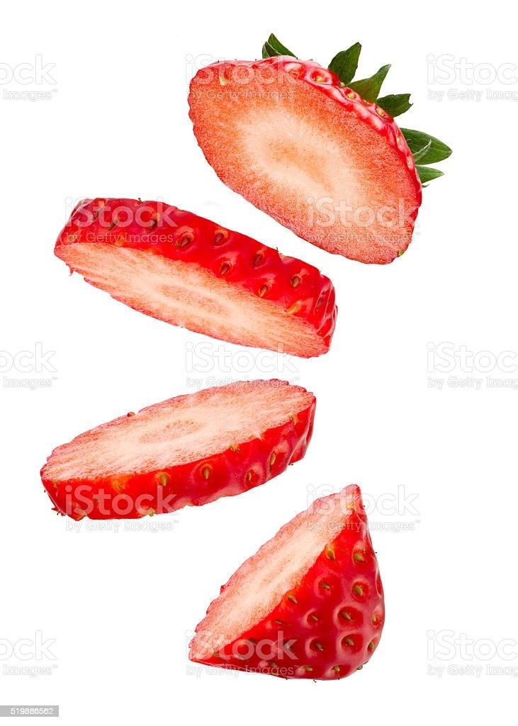 Floating Fresh Strawberry stock photo