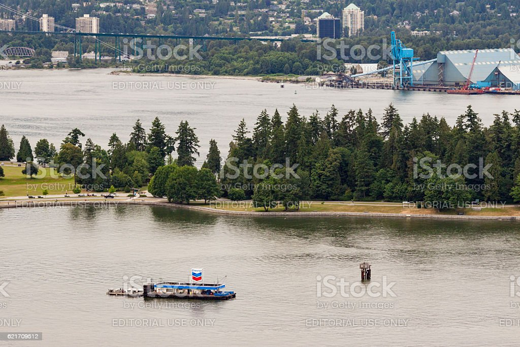 Floating Gas Station and Stanley Park Vancouver stock photo