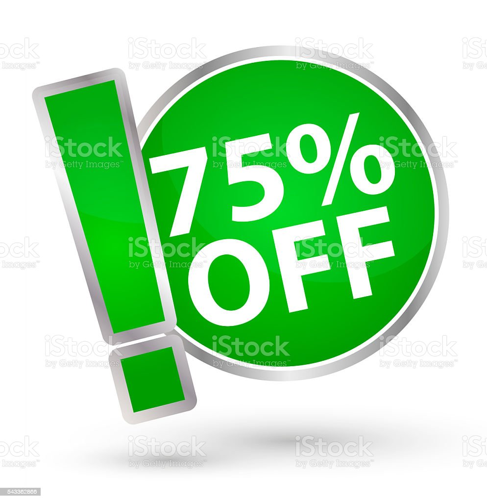Floating green Button or Badge with text 75 percent off stock photo