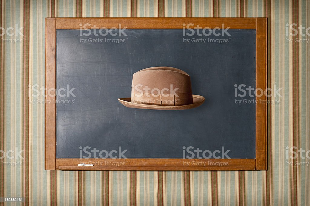 Floating Hat And Chalkboard stock photo