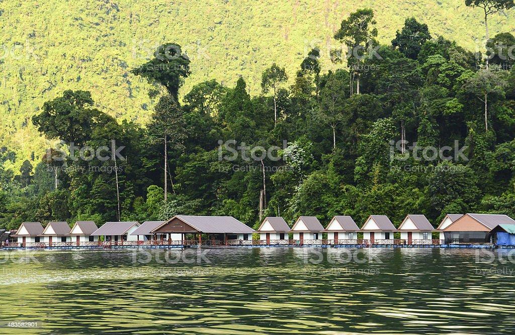 floating home ,Cheow Lan lake, Thailand stock photo