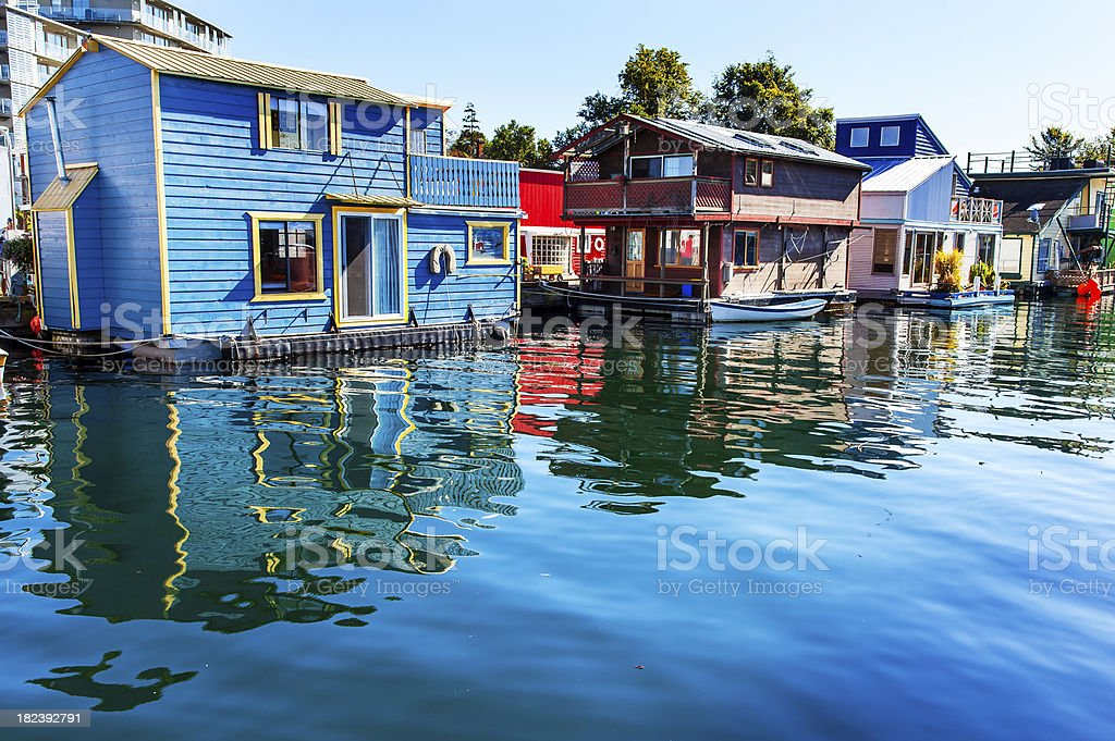 Floating Home Village Blue Red Houseboats Victoria Vancouver Canada stock photo