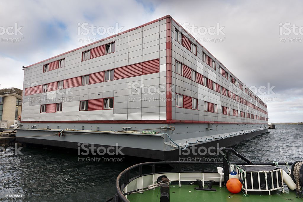 Floating hotel at Lerwick harbour for oil workers royalty-free stock photo