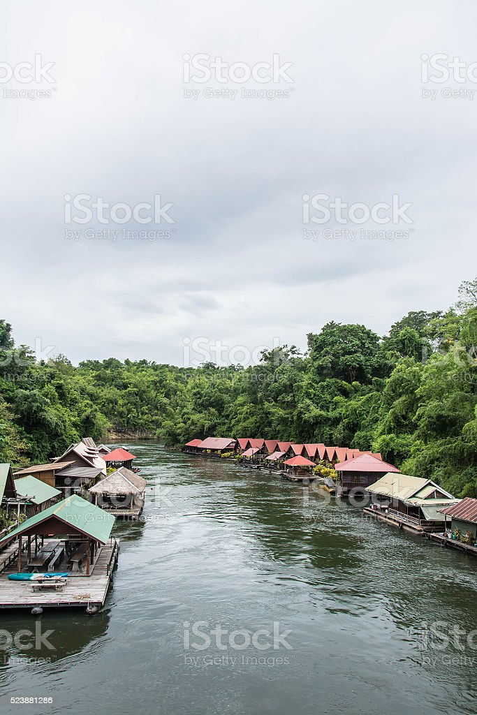 floating house in river Kwai.  Kanchanaburi of Thailand. stock photo
