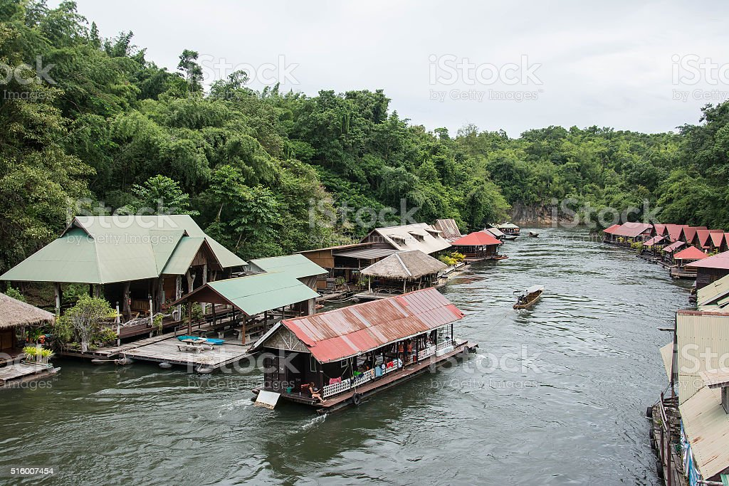 floating house in river Kwai.  Thailand. stock photo