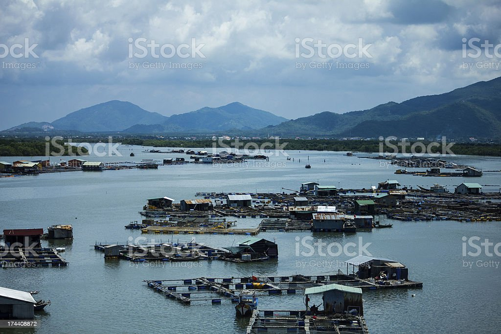 floating house on blue water royalty-free stock photo