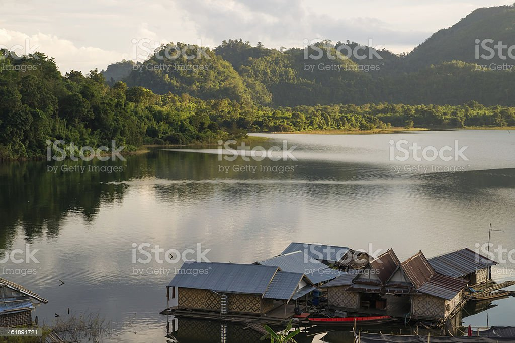 Floating houses at Khao Laem stock photo