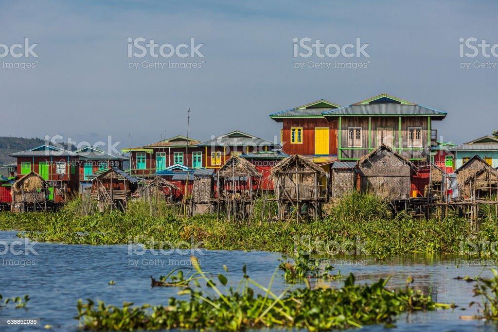 floating houses Inle Lake Shan state Myanmar stock photo