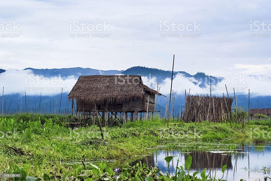 Floating houses on Inle Lake stock photo