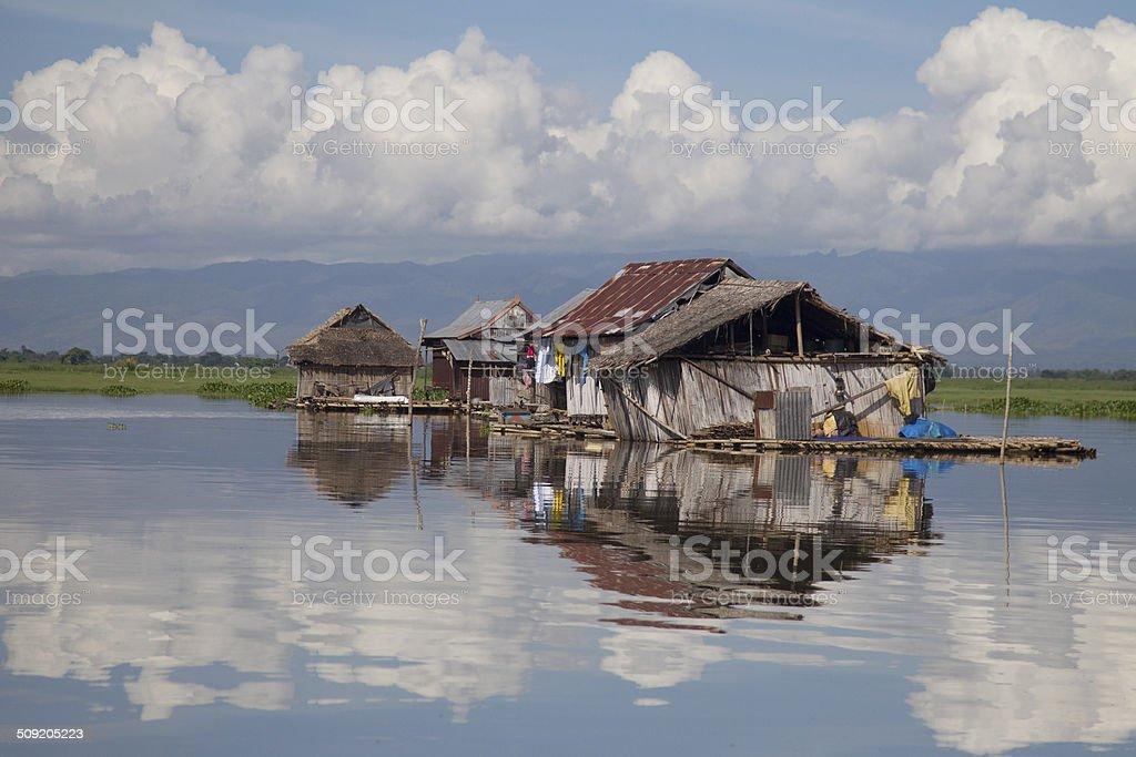 Floating houses Tempe lake stock photo
