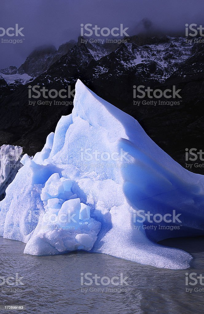 Floating Iceberg in Grey Lake, Torres del Paine, Chile royalty-free stock photo