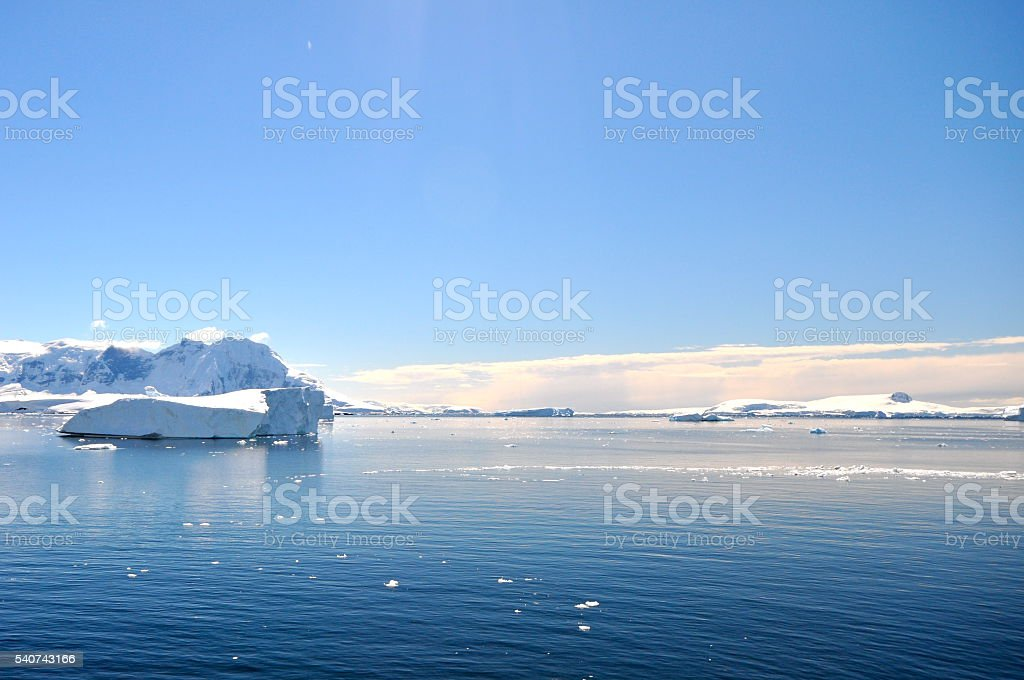 Floating icesheet in the middle of Antarctica Ocean stock photo