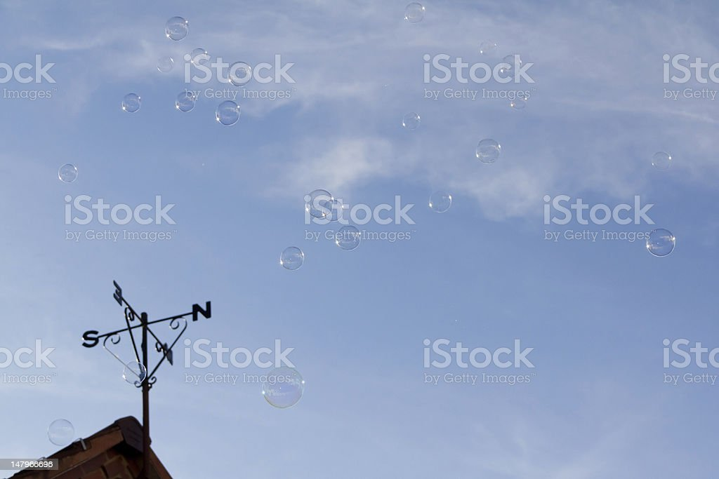 Floating in the air-bubbles transparent and delicate float free stock photo