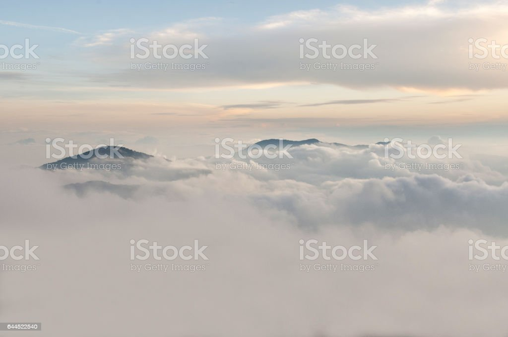 Floating In The Mountain | Titiwangsa Mountains also known as Sankalakhiri Range in Thailand. stock photo