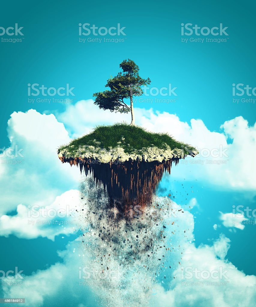 3D floating island exploding into the sky stock photo