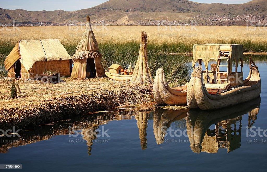 Floating Island Titicaca Peru stock photo