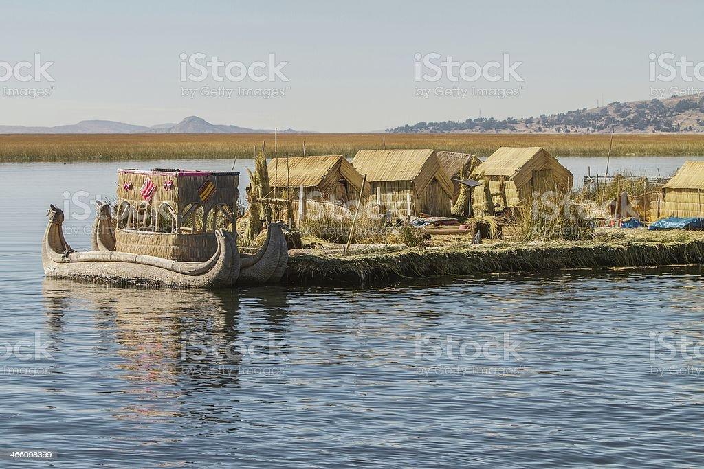 Floating Island Uros, Lake Titicaca, Peru, Bolivia stock photo