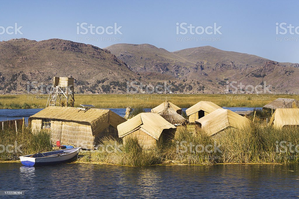 Floating Islands on Lake Titicaca royalty-free stock photo