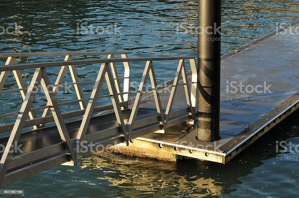 Floating jetty detail stock photo