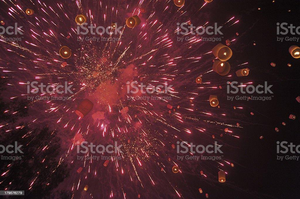 Floating lantern and Fireworks royalty-free stock photo