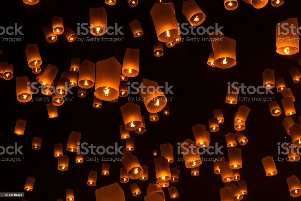 Floating Lantern on Yee Peng festival stock photo