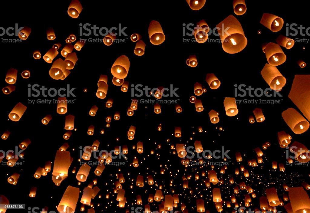 Floating lantern stock photo