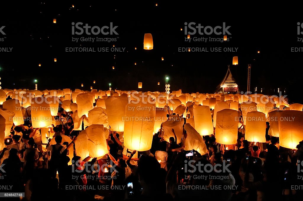 Floating Lanterns festival stock photo